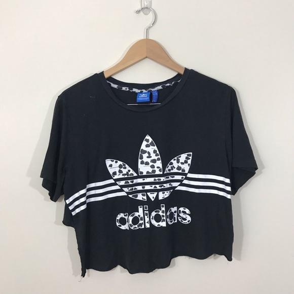 Adidas Trefoil 3 Stripe Logo Graphic Crop Top M